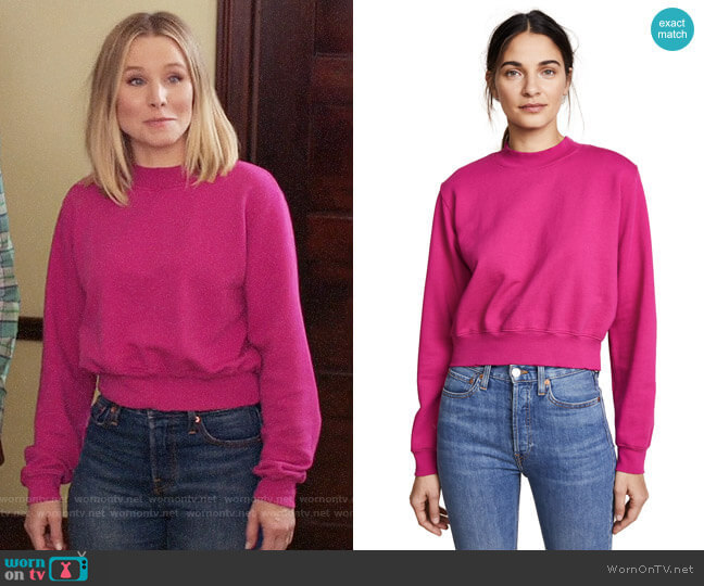Cotton Citizen The Milan Cropped Sweatshirt worn by Eleanor Shellstrop (Kristen Bell) on The Good Place