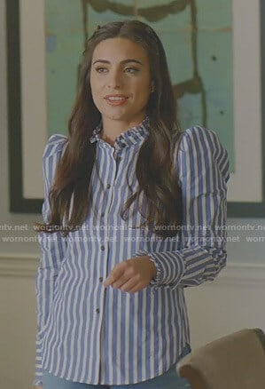 Cristal's blue striped puff sleeve blouse on Dynasty
