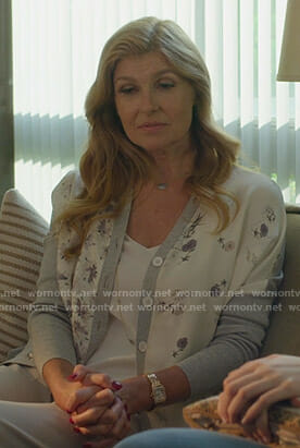 Debra's white and grey floral cardigan on Dirty John