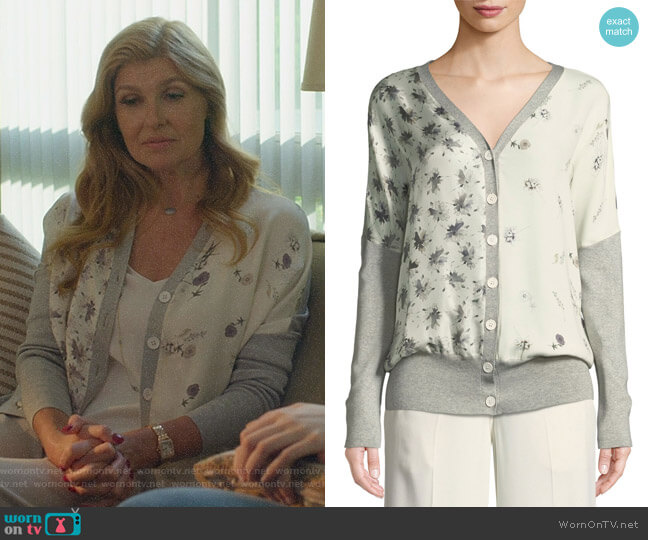 Mixed-Print Cardigan by Derek Lam worn by Debra Newell (Connie Britton) on Dirty John