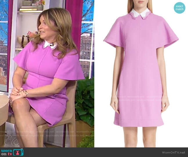 Detachable Embroidered Collar Tunic Dress by Lela Rose worn by Jenna Bush Hager  on Today