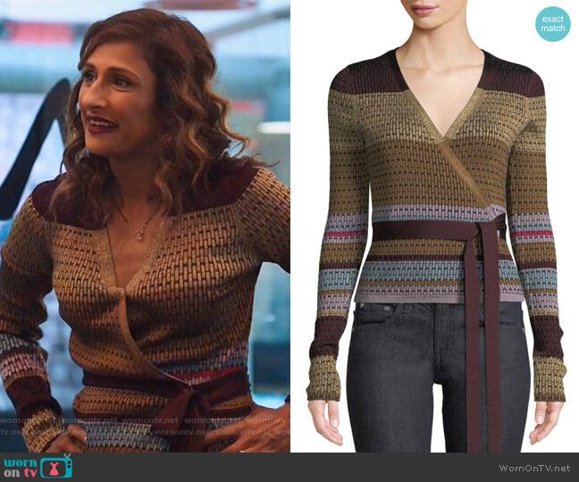 Metallic Striped Wrap Sweater by Diane von Furstenberg worn by Emet Kamala-Sweetzer (Sarayu Blue) on I Feel Bad