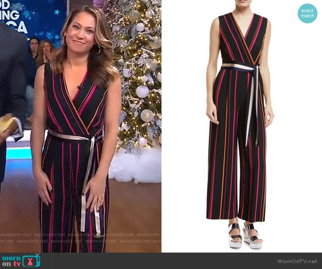 Sleeveless Crossover Wide-Leg Striped Jumpsuit by Diane von Furstenberg worn by Ginger Zee  on Good Morning America