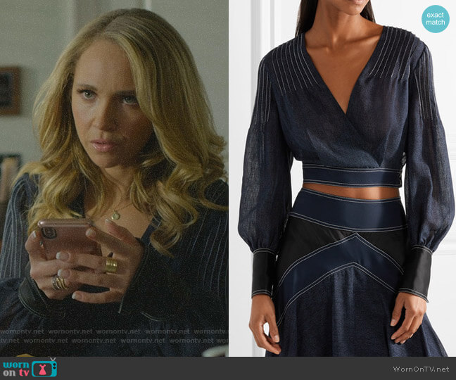 Wrap-effect Crepe and Satin-Trimmed Voile Blouse by Diane von Furstenberg worn by Veronica Newell (Juno Temple) on Dirty John