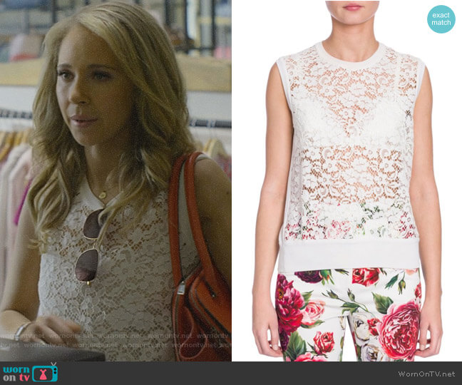 Sleeveless Lace Top by Dolce & Gabbana worn by Veronica Newell (Juno Temple) on Dirty John