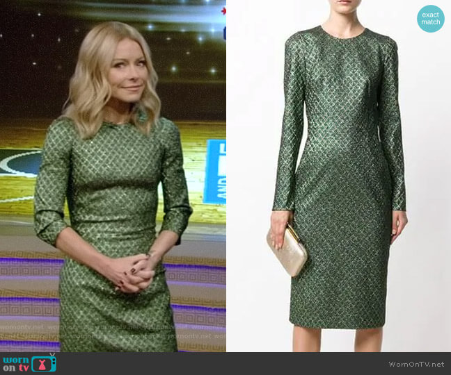 Metallic Jacquard Dress by Dolce & Gabbana worn by Kelly Ripa on Live with Kelly & Ryan