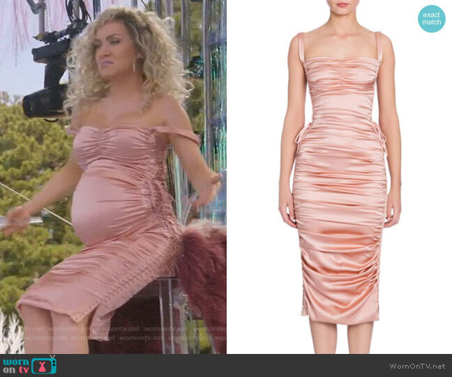 Ruched Satin Lace-Up Dress by Dolce & Gabbana worn by Star Davis (Jude Demorest) on Star