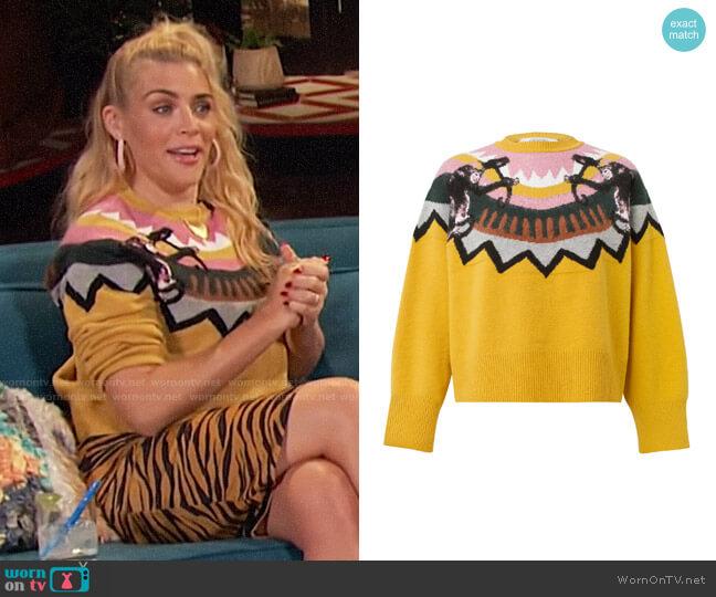 Dorothee Schumacher Wild Wonder Instarsia Wool-Blend Sweater worn by Busy Philipps  on Busy Tonight