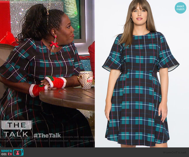 Plaid Fit and Flare Dress by Eloquii worn by Sheryl Underwood  on The Talk