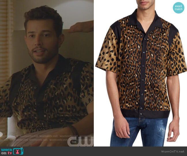 Leopard Print Bowling Shirt by Dsquared2 worn by Sam Flores (Rafael de la Fuente) on Dynasty