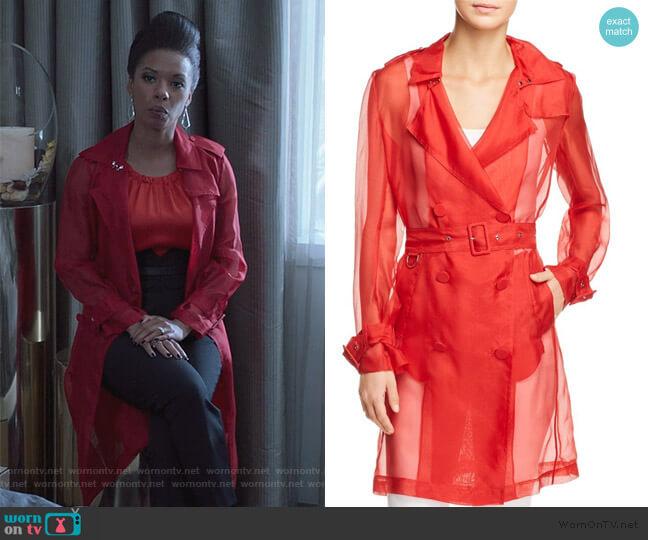 Natania Sheer Trench Coat by Elie Tahari worn by Catherine Wilder (Angel Parker) on Marvels Runaways