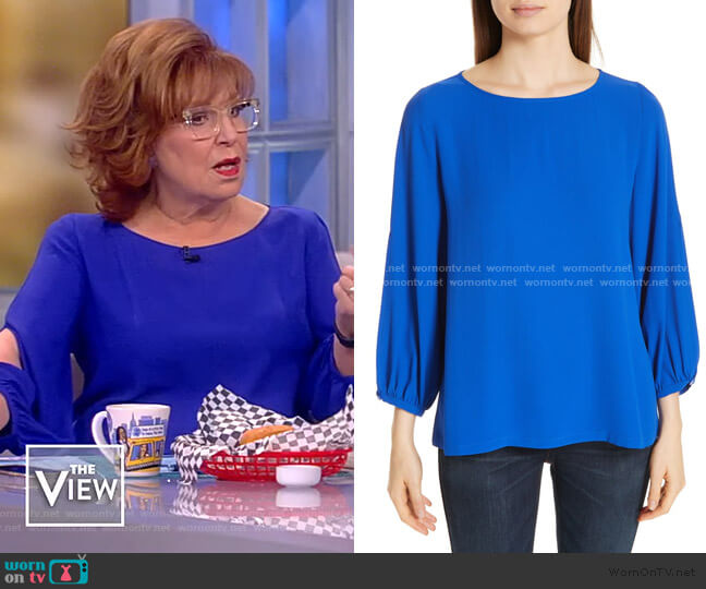 Slit Sleeve Silk Top by Eileen Fisher worn by Joy Behar  on The View