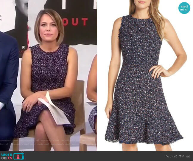 Sleeveless Tweed Fit & Flare Dress by Eliza J worn by Dylan Dreyer (Dylan Dreyer) on Today