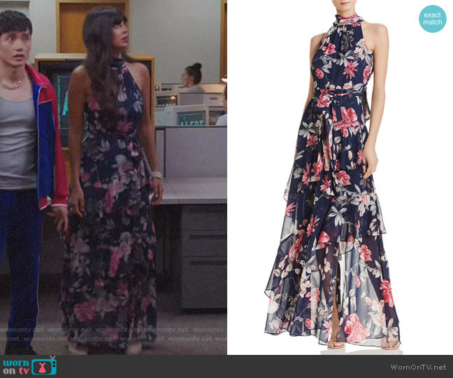 Tiered Floral Gown by Eliza J worn by Jameela Jamil on The Good Place
