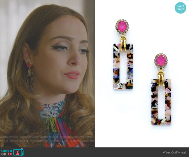 Gaylen Link Drop Earrings by Elizabeth Cole worn by Fallon Carrington (Elizabeth Gillies) on Dynasty