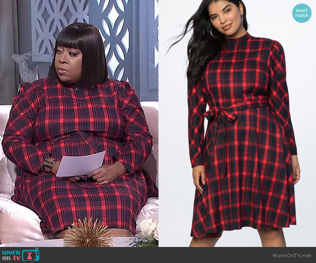 Fit and Flare Plaid Dress by Eloquii worn by Loni Love  on The Real