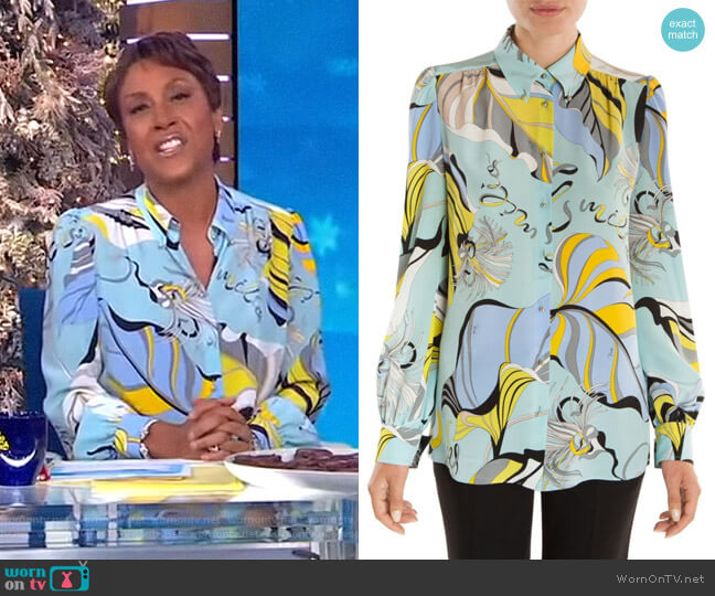 Silk Crepe Graphic Print Blouse by Emilio Pucci worn by Robin Roberts  on Good Morning America