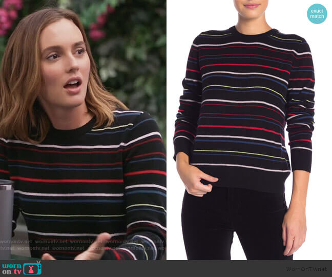 Shirley Stripe Cashmere Sweater by Equipment worn by Angie (Leighton Meester) on Single Parents