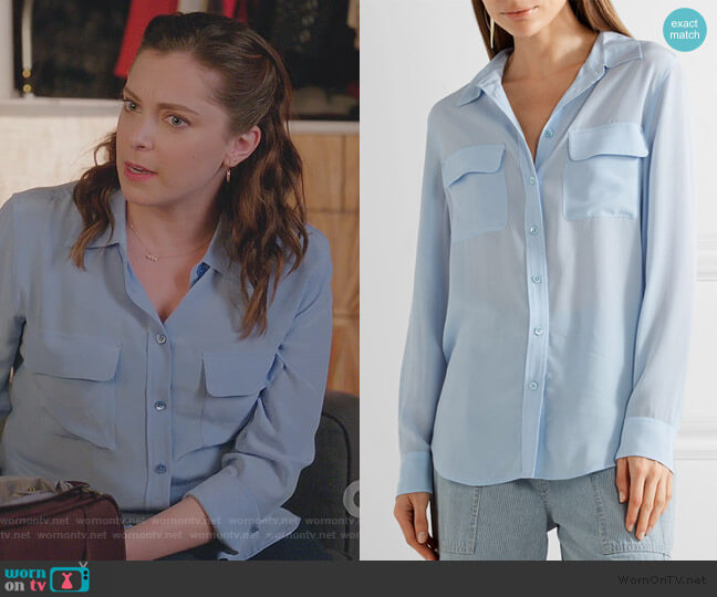 Slim Signature washed-silk shirt by Equipment worn by Rebecca Bunch (Rachel Bloom) on Crazy Ex-Girlfriend
