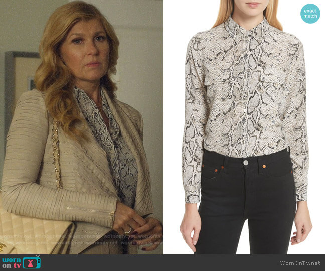 Slim Signature Python Print Shirt by Equipment worn by Debra Newell (Connie Britton) on Dirty John