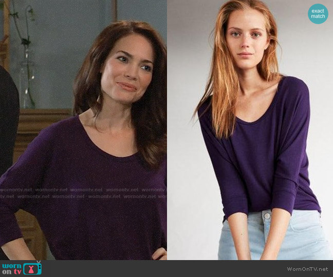 Express One Eleven Scoop Neck Slouchy Dolman Tee worn by Elizabeth Webber (Rebecca Herbst) on General Hospital