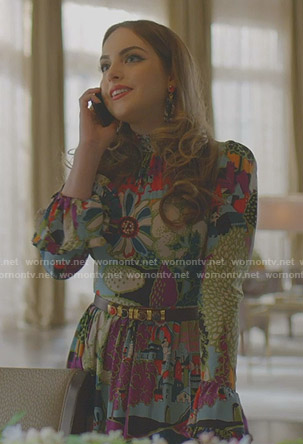 Fallon's multicolor floral long dress on Dynasty