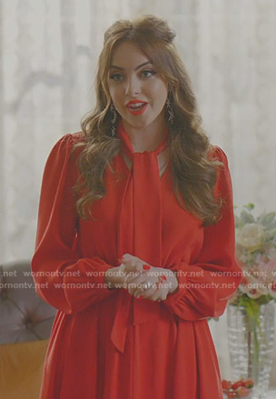 Fallon's red tie neck midi dress on Dynasty