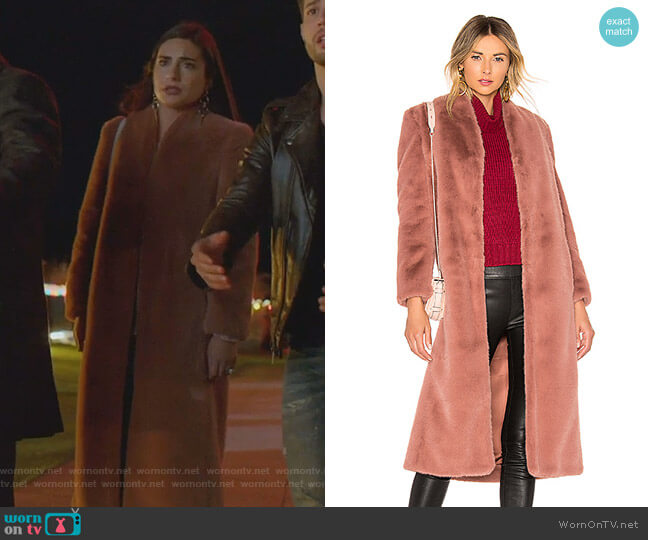Faux Fur Coat by Michelle Mason worn by Cristal Jennings (Daniella Alonso) on Dynasty
