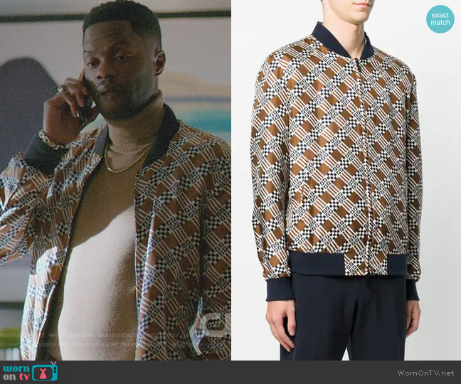 Geometric Print Bomber jacket by Fendi worn by Jeff Colby (Sam Adegoke) on Dynasty