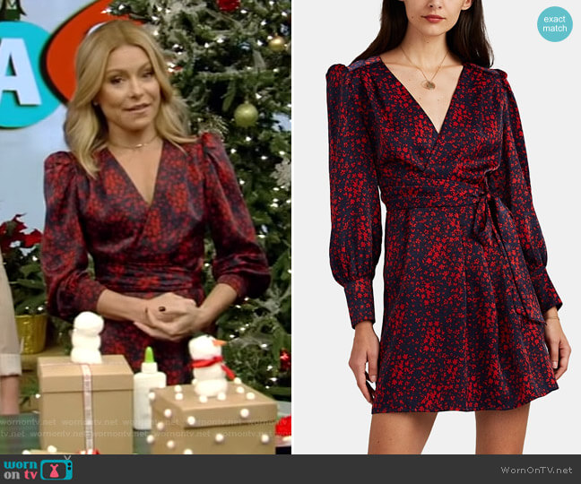 Floral Satin Wrap Dress by FiveSeventyFive worn by Kelly Ripa on Live with Kelly & Ryan