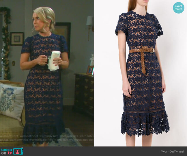 Floral Lace Midi Dress by MICHAEL Michael Kors worn by Jennifer Horton (Melissa Reeves) on Days of our Lives