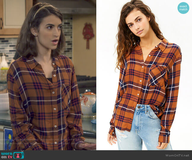 Plaid High-Low Shirt by Forever 21 worn by Ramona Gibbler (Soni Nicole Bringas) on Fuller House