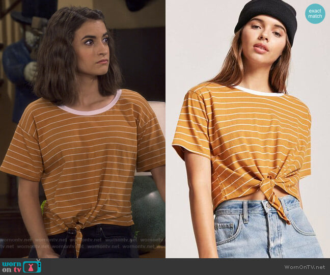 Tie-Front Striped Tee by Forever 21 worn by Ramona Gibbler (Soni Nicole Bringas) on Fuller House