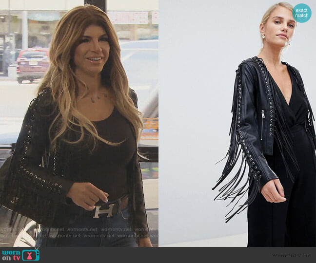 Tassel Fringing PU Jacket by Forever Unique worn by Teresa Giudice  on The Real Housewives of New Jersey