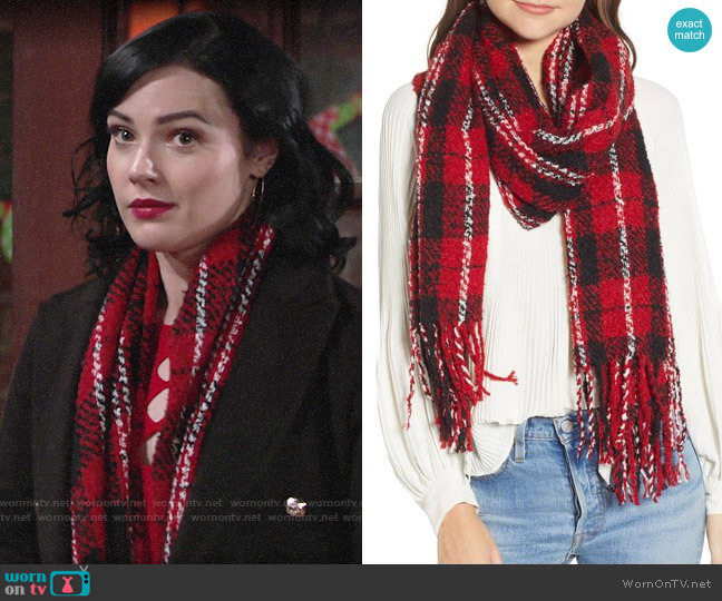 Free People Emerson Plaid Scarf worn by Tessa Porter (Cait Fairbanks) on The Young & the Restless