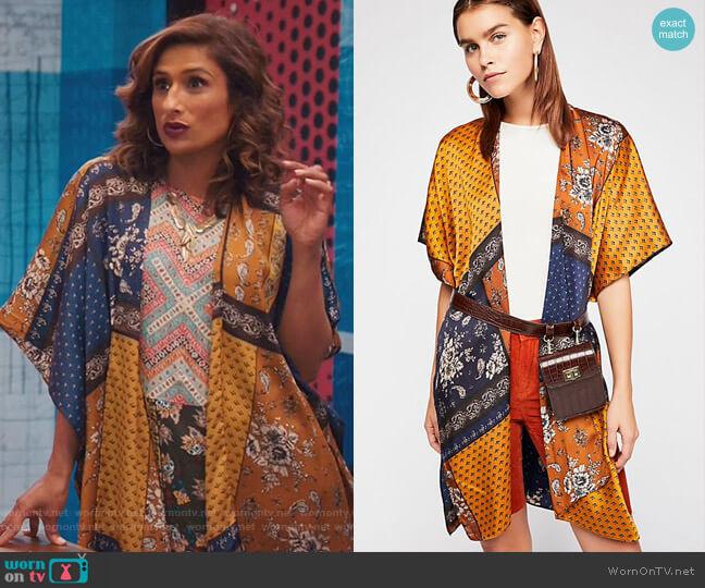 Mon Cheri Silky Patchwork Kimono by Free People worn by Emet Kamala-Sweetzer (Sarayu Blue) on I Feel Bad