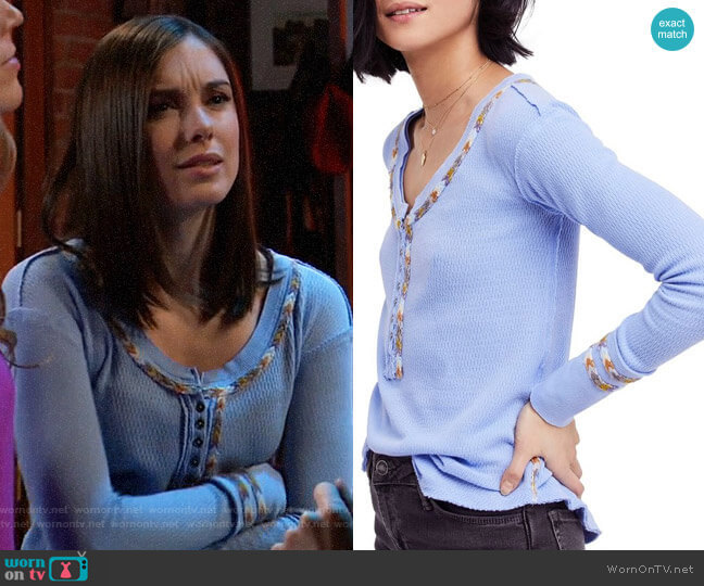 Free People Rainbow Thermal Tee worn by Willow Tait (Katelyn MacMullen) on General Hospital