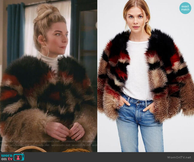 Scarlet Faux Fur Jacket by Free People worn by Alexis Rose (Annie Murphy) on Schitts Creek