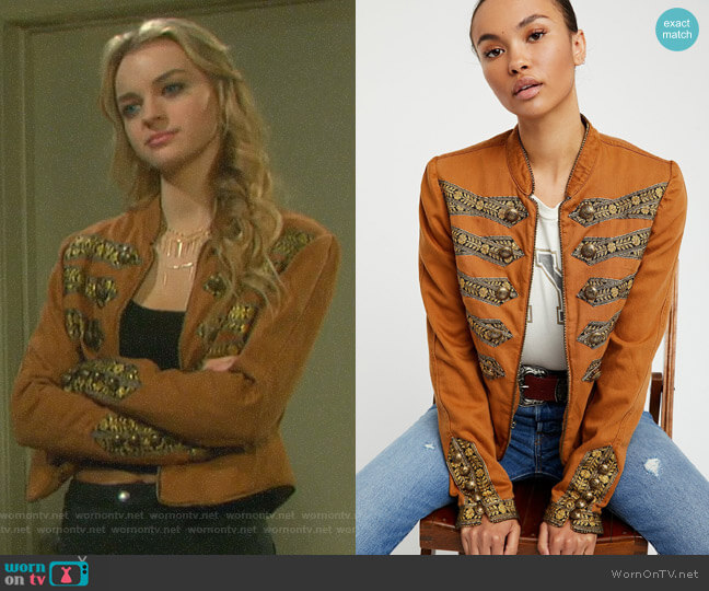 Twill Band Jacket by Free People worn by Claire Brady (Olivia Keegan) on Days of our Lives