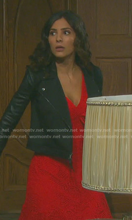Gabi's red ruffled lace dress and studded sleeve jacket on Days of our Lives