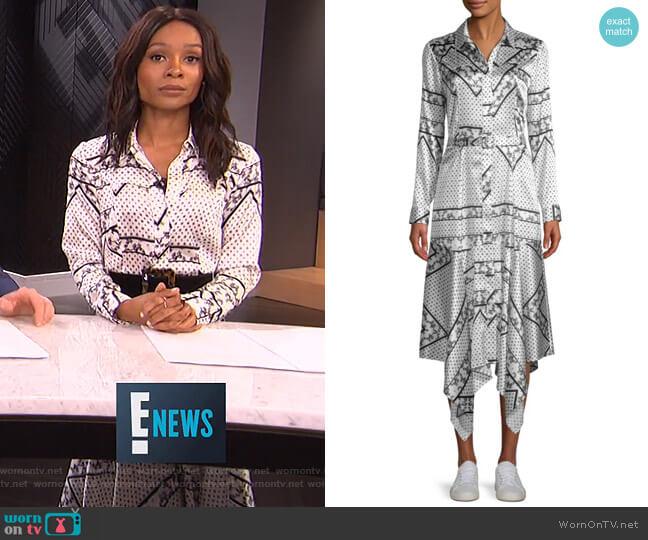Blakely Scarf-Print Silk Dress by Ganni worn by Zuri Hall  on E! News