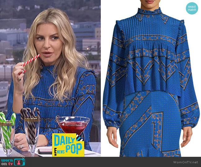 Sandwashed Silk High-Neck Printed Blouse by Ganni worn by Morgan Stewart (Morgan Stewart) on E! News