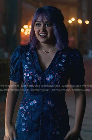 Gert's blue floral puff sleeve dress on Marvel's Runaways