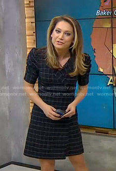 Ginger's black grid check mini dress on Good Morning America