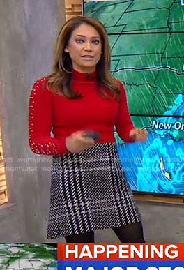 Ginger's red embellished sleeve sweater and checked mini skirt on Good Morning America