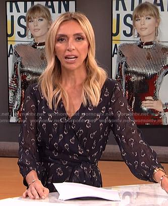 Giuliana's black floral wrap dress on E! News