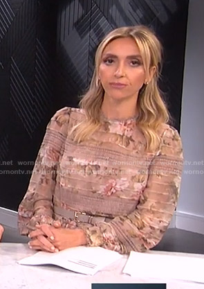Giuliana's pink floral lace inset romper on E! News
