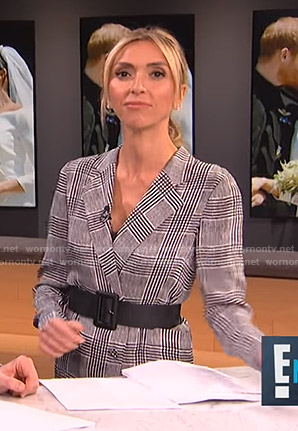 Giuliana's grey plaid blazer dress on E! News