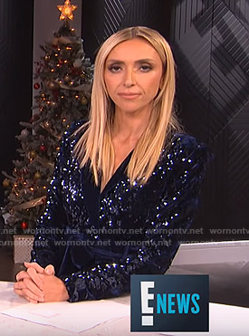 Giuliana's sequin romper with velvet belt on E! News