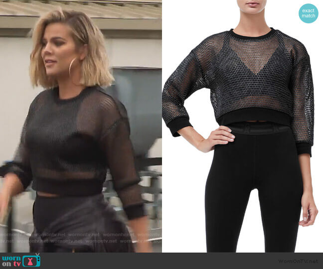 Branded Mesh Pullover Sweatshirt by Good American worn by Khloe Kardashian  on Keeping Up with the Kardashians